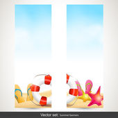Summer beach background with empty paper — Vector de stock