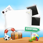 Summer holiday - background with empty paper — Stockvector