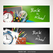 Back to school - set of vector banners — Cтоковый вектор