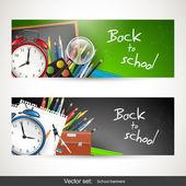 Retour à l'école - définir des bannières de vecteur — Vecteur