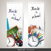 Back to school - set of vector banners — Vettoriale Stock