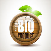 BIO product - glossy wooden icon — Stock Vector