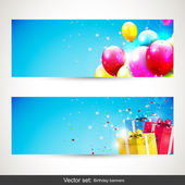 Birthday banners - vector set — Vector de stock
