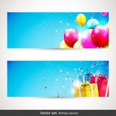 Birthday banners - vector set — Vettoriale Stock