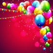 Colorful birthday balloons on red background — Imagens vectoriais em stock