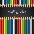 Back to school - Colorful crayons background — Imagen vectorial