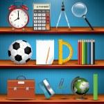 School supplies on the shelves — Stock Vector