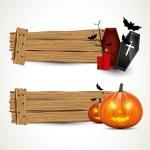 Halloween horizontal wooden banners — Stock Vector
