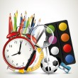 Modern school background with supplies on shelf — Image vectorielle