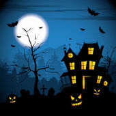 Halloween night with pumpkins - background with place for text — Stock Vector
