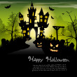 Creepy castle - halloween background with place for text - Stock Vector