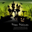Creepy castle - halloween background with place for text — Stock Vector