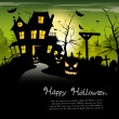 Creepy castle - halloween background with place for text — Imagen vectorial