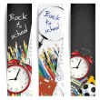 Back to school - set of vertical banners — Stok Vektör