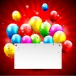 Colorful Birthday background with balloons and place for text — Stok Vektör