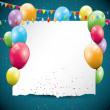 Colorful Birthday background with balloons and place for text — Imagens vectoriais em stock