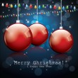 Christmas night background with glossy red balls — Image vectorielle