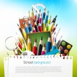 Colorful crayons with school supplies — Stock Vector #26573217