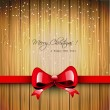 Christmas wooden greeting card with red ribbon — Image vectorielle