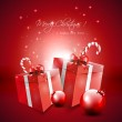 Red Christmas background with gifts and baubles — Stock Vector #26573617