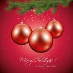 赤いクリスマスのグリーティング カード — ストックベクタ
