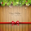 Christmas wooden greeting card — Stock Vector