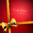Christmas red greeting card with gold ribbon — Image vectorielle