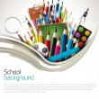 School supplies on white background — Imagen vectorial
