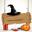 Halloween background with wooden sign — Imagens vectoriais em stock