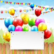 Colorful Birthday background with balloons and place for text — Stock Vector