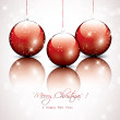 Christmas transparent balls on red background — Vettoriali Stock