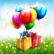 Realistic colorful birthday background — Imagens vectoriais em stock