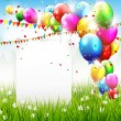 Colorful birthday background with place for text — Stok Vektör