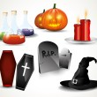 Halloween glossy icons — Stock Vector