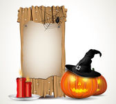 Halloween background with wooden sign — Stock Vector