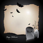 Modern Halloween background with gravestones and bats — Stock Vector