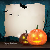 Halloween background with pumpkins and place for your text — Stock Vector