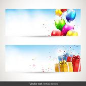Födelsedag horisontella banners - vektor set — Stockvektor