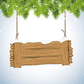 Christmas background with wooden sign — Stock Vector