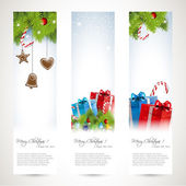 Set of three Christmas banners — Stock Vector