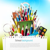 Colorful crayons with school supplies — Stock Vector