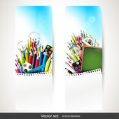 Set of three school banners — Stock Vector