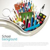 Beyaz arka plan üzerinde okul malzemeleri — Stok Vektör