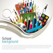 School supplies on white background — Vecteur