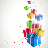 Modern birthday background with flying colorful gifts — Vector de stock