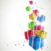 Tło urodziny nowoczesny z latające kolorowe prezenty — Wektor stockowy