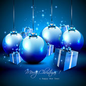 Elegant blue Christmas background with baubles and gifts — Stock Vector