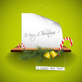 Green christmas greeting card — Stock Vector