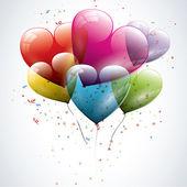 Transparent heart shaped birthday balloons — Stock Vector