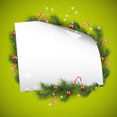 Green Christmas background with place for text — Stock Vector